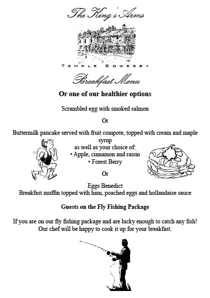 The Kings Arms Breakfast Menu Temple Sowerby Near Penrith